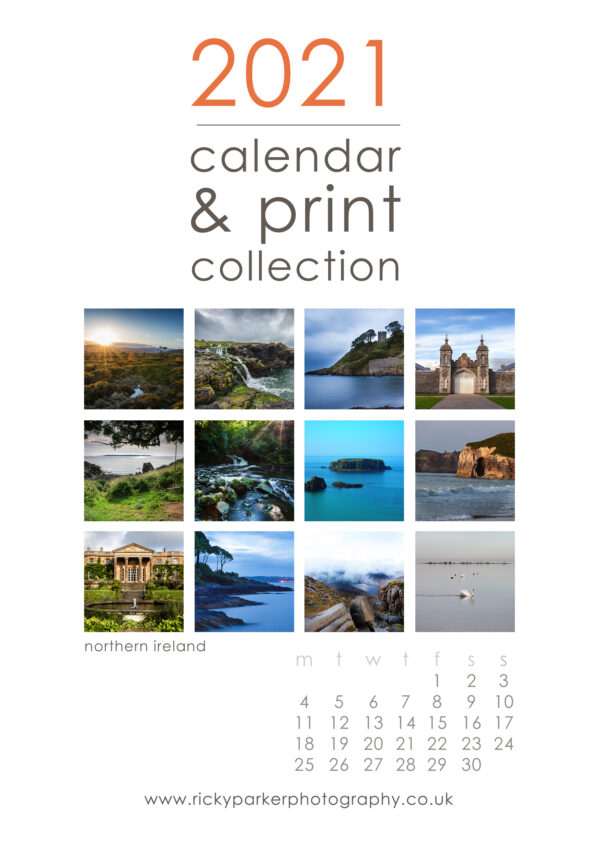 2021 Northern Ireland Calendar (A5) Wooden Clipboard and Stand