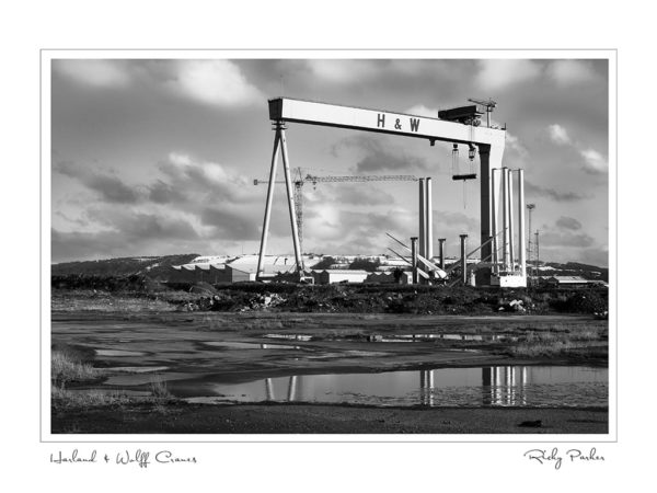 Harland Wolff Cranes BW by Ricky Parker Photography